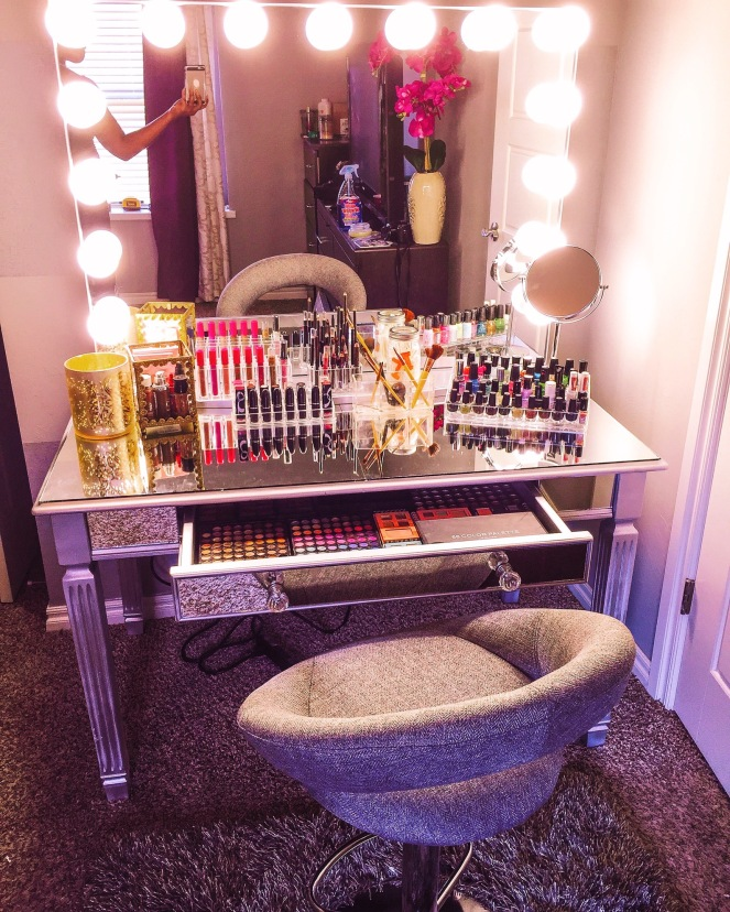 DIY Mirrored Vanity Before and After