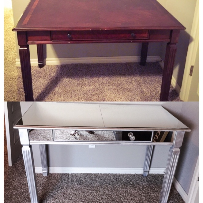 Mirrored Vanity Before and After
